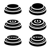 Start stop knob button black symbols. Illustration for the web Royalty Free Stock Images