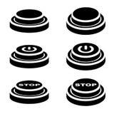Start stop knob button black symbols Royalty Free Stock Images