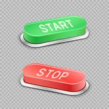 Start and stop buttons transparent. Start and stop large buttons with shadow on transparent background Royalty Free Stock Photography