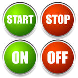 Start-Stop and On-Off Buttons. Eps 10 Vector Illustration of Start-Stop and On-Off Buttons Royalty Free Stock Photos