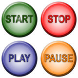 Start Stop Play Pause Buttons. Separated rounded color Start Stop Play Pause Buttons Stock Photo