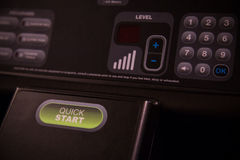 Start and Stop push bottom on the machine, Selector fitness room. Function on Treadmill belt.  Royalty Free Stock Photos