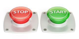 Start and stop push button, 3D rendering. On white background Royalty Free Stock Photo