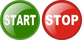 Start stop sign. Or button in green and red Royalty Free Stock Images