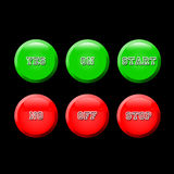 Start, Stop, Yes, No, On, Off. Symbols depicted in their corresponding universal colors Stock Photo
