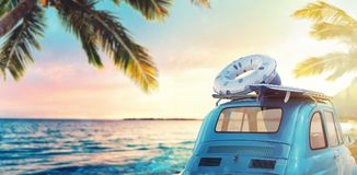 Start summertime vacation with an old car on the beach. 3D Rendering. Old car on a tropical beach at the sunset. 3D Rendering Royalty Free Stock Photos