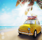 Start summertime vacation with an old car on the beach. 3d rendering. Start summertime vacation with an old yellow car on the beach. 3d rendering vector illustration