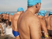 Start seniors swim open waters race Royalty Free Stock Photos
