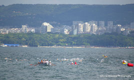 The start of swimming marathon,Varna. On August 2, 2015 was held 75th anniversary swimming marathon Galata - Varna. It involved 263 participants.On the photo Royalty Free Stock Photography