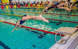 Start of swimming race Stock Photo