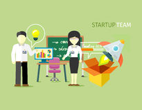 Start-Team People Group Flat Style Lizenzfreies Stockbild