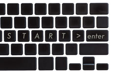 Start text and enter bottom on computer notebook Stock Photography
