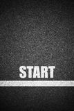 Start text and line on asphalt Stock Image