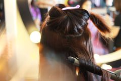 Start to curling hair stock image