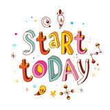 Start today - inspirational vector typography Royalty Free Stock Photo