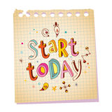 Start today notepad paper message Stock Photo