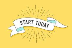 Start today. Vintage ribbon banner stock illustration
