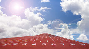 Start track. line on a red running track Royalty Free Stock Photos