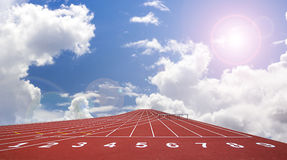 Start track. line on a red running track Royalty Free Stock Photo