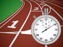 Start Track With Stopwatch. Lines On a Red Running Track. Vector illustration Stock Photo
