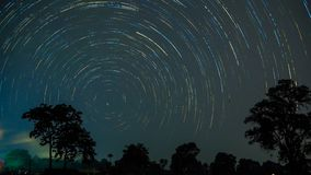 Star trail at sisaket thailand. stock photos