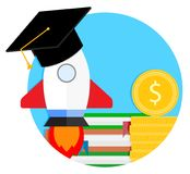 Start training at university icon. Vector launch education rocket and financing study learning illustration Royalty Free Stock Images