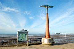 Start of the Trans Pennine Trail, Southport. Sculpture and map/information board at the start of the Trans Pennine Trail in Southport, Merseyside Stock Photography