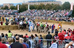 Start of the truffle fair in Alba (Cuneo), has been held for more than 50 years, the donkey race. Alba (Cuneo), Italy - october 5, 2014: With the start of the Stock Photo