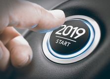 2019 Start, Two Thousand Nineteen. Finger pressing a 2019 start button. Concept of new year, two thousand nineteen. Composite between a photography and a 3D Royalty Free Stock Images
