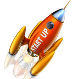 Start up. 3D rendering of a rocket with a start up icon Stock Photo