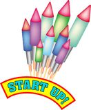 Start up with bottle rockets. Bunch of bottle rockets with the words `Start Up`. Available as eps-file Royalty Free Stock Photo