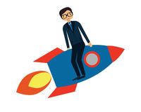 Start up business. Businessman flying on a rocket. Business concept Stock Photos