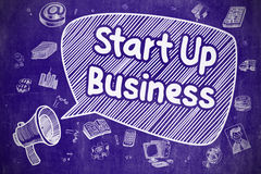 Start Up Business - Cartoon Illustration on Blue Chalkboard. Royalty Free Stock Photography