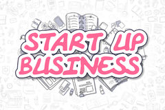 Start Up Business - Cartoon Magenta Text. Business Concept. Royalty Free Stock Images