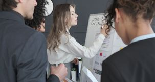 Start up business team discussing financial budget. Start up business colleagues discussing financial budget on office whiteboard stock video footage