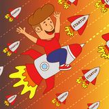 Start up business concept design. Happy young man flying on a rocket. vector. flat Royalty Free Stock Photos