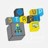 Start-up business concept in flat design style Royalty Free Stock Photo