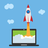 Start up business concept. Flat vector illustration with rocket launch. And laptop on the background Stock Image