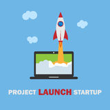 Start up business concept. Flat vector illustration with rocket launch. And laptop on the background Stock Photography