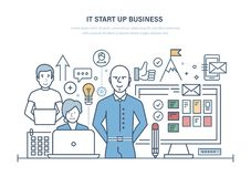 It start up business. Effective planning, teamwork, new business. It start up business. Effective planning, together teamwork, development team, innovation stock illustration