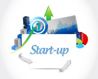 Start-up business graph sign concept illustration. Design artwork Stock Photography
