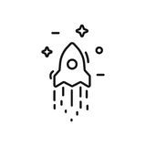 Start up business outlined line vector icon rocket and stars Stock Photography