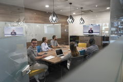 Start up business people group attending videoconference call Royalty Free Stock Photo