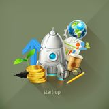 Start-up business project and development. Start-up business project and its development, vector illustrations on background Royalty Free Stock Images