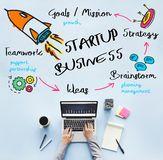 Start Up Business Rocket Ship Graphic Concept Stock Photos