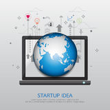 Start up business strategy idea concept. With global communication innovation technology abstract background.Vector illustration Royalty Free Stock Photos