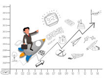Start up business with a young businessman. stock illustration