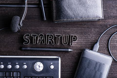 Start up composition. Office workspace, cookie cutter sign Royalty Free Stock Image