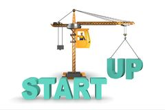 The start-up concept with crane lifting letters. Start-up concept with crane lifting letters Stock Photography