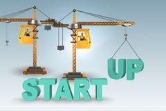 The start-up concept with crane lifting letters. Start-up concept with crane lifting letters Stock Photos